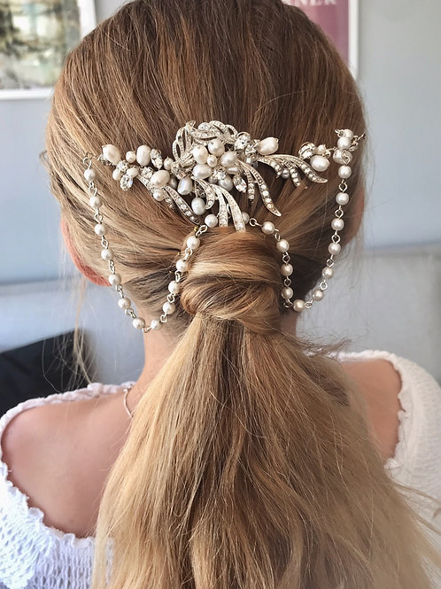 Ivory Fresh Water Pearls Draping Beads Vine Hair Clip Comb