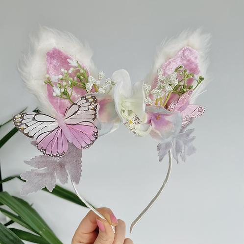 🌸🐇 Fluffy Bunny Ears Lilac Pink Flower Butterfly Headband Hair Band