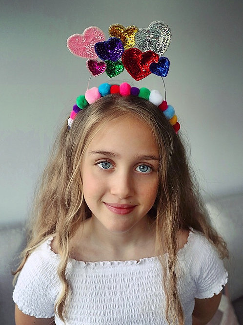 All You Need Is Love Pom Pom Sequin Heart Crown Hair Head Band