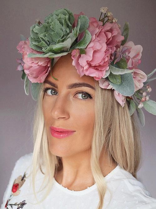 Dusky Pink Green Succulent Gypsophila Flower Crown Hair Band