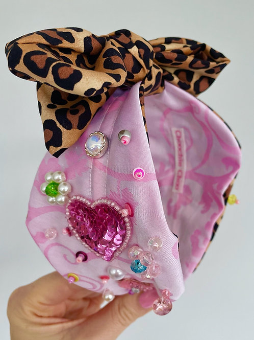 💗 Love Wins 💗 Pink Silk Leopard Jewel Beaded Embellished Headband Hair Band