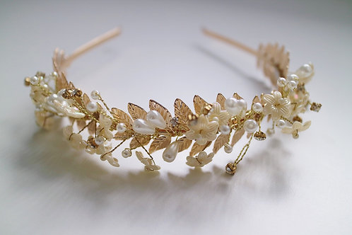 Gold Leaf Ivory Pearl Diamond Tiara Bridal Bride Wedding Hair Head Band
