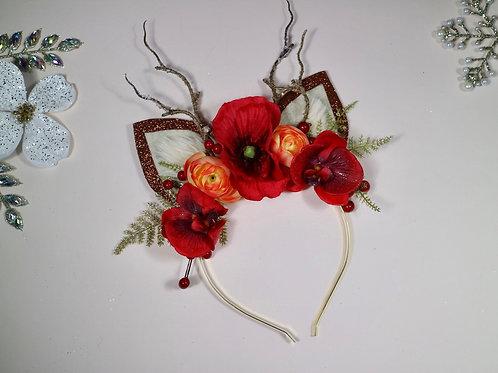 Red Brown Glitter Reindeer Ears Headband Flower Crown Hair Band Christmas Xmas