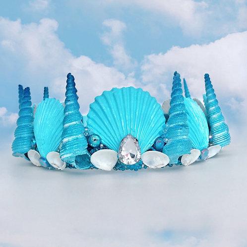 Turquoise Blue Sea Shell Mermaid Crown Hair Band Headband Diamond Jewelled