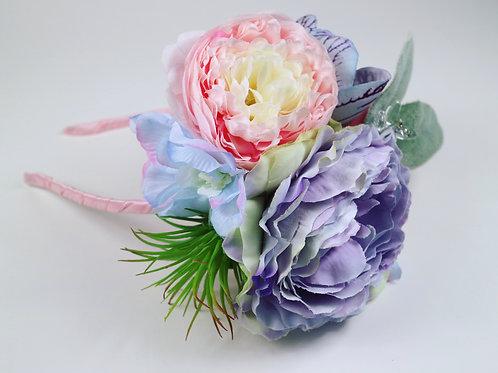 Soft Pink Purple Blue & Green Succulent Flower Crown Hair Band