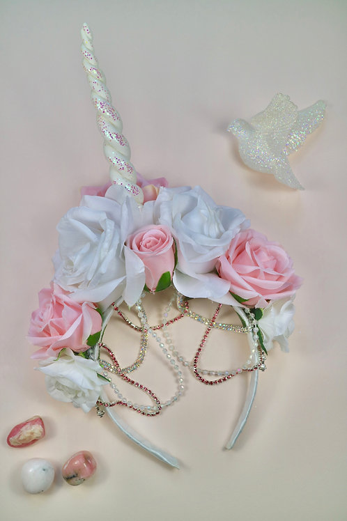 Pink & White Rose Flower Unicorn Horn Crown Head Band