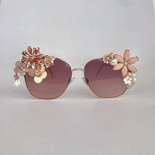 Rose Gold Sunglasses Diamond Jewelled Flower Crystal Rhinestone Sunnies