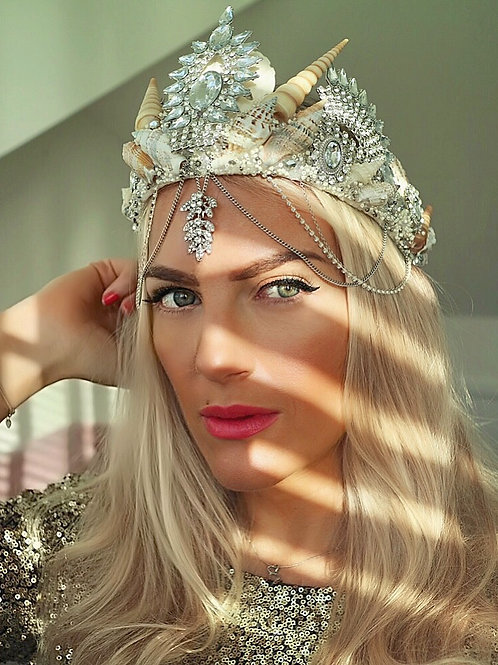 Arna Chains Crystal Natural Sea Shell Mermaid Crown Hair Head Band