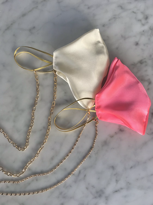 Luxury Silk Satin Face Mask Covering Gold Chain Necklace