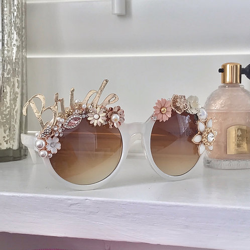 🌟 BRIDE 🌟 White Round Rose Gold Sunglasses Diamond Flower Crystal Sunnies