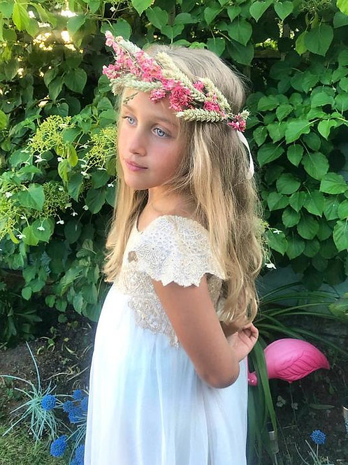 Real Dried Pink Delphinium & Wheat Flower Crown Hair Head Band