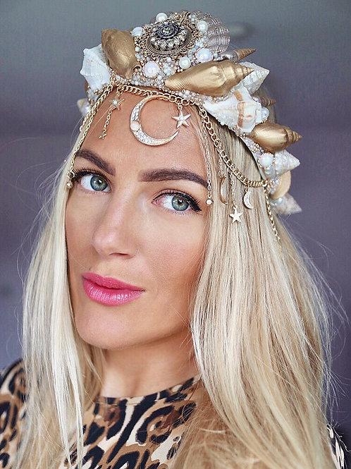 Moon & Stars Gold Sea Shell Mermaid Crown Hair Head Band