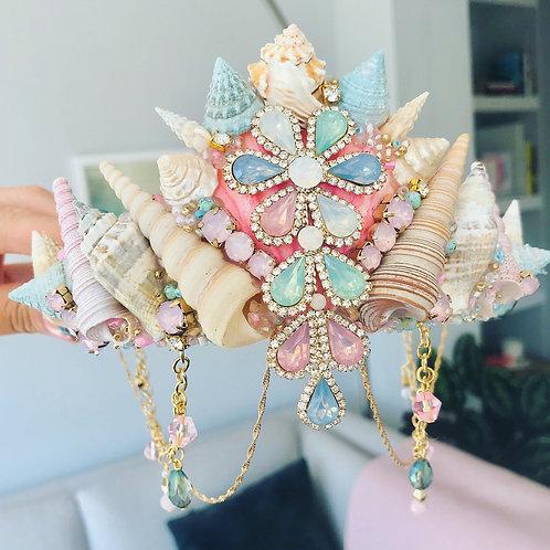 Pastel Gypsy Crown Sea Shell Mermaid Hair Head Band Pink Green