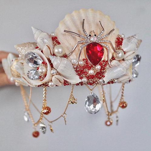 Red Diamond Spider Skull Cross Sea Shell Mermaid Crown Hair Head Band