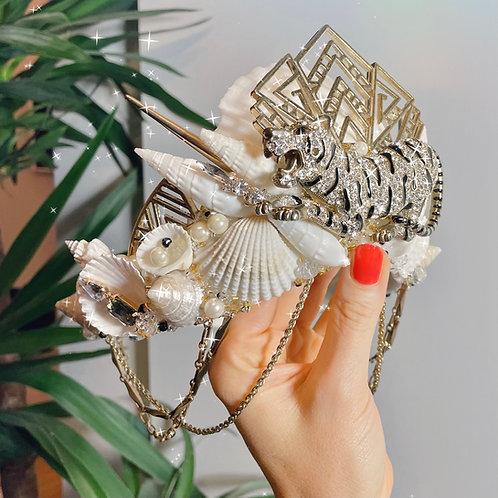 Clawdia Tiger Art Deco White Sea Shell Mermaid Crown Hair Band Headband