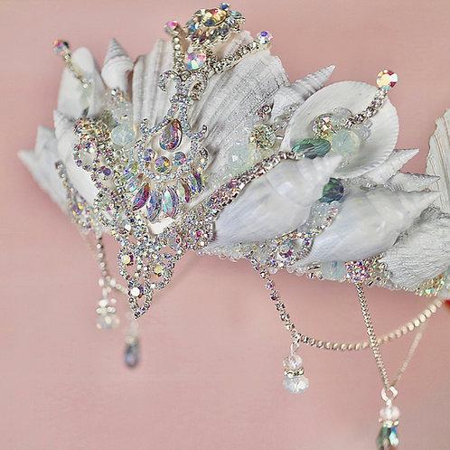 Aura Crystal White Mermaid Crown Hair Band
