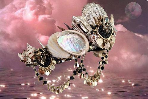 Black & Gold Art Deco Sea Shell Mermaid Crown Hair Head Band