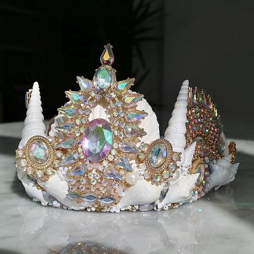 Gold Arna Aurora Crystal White Sea Shell Mermaid Crown Hair Head Band