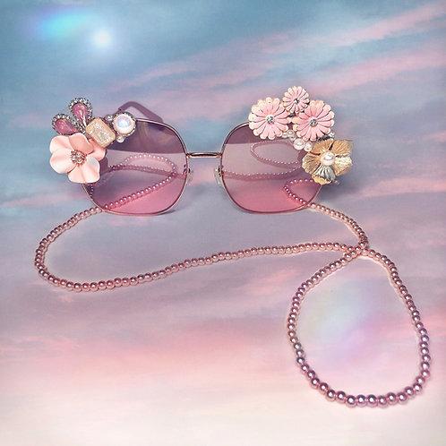 Margarita Rose Gold Flower Jewelled Embellished Sunglasses