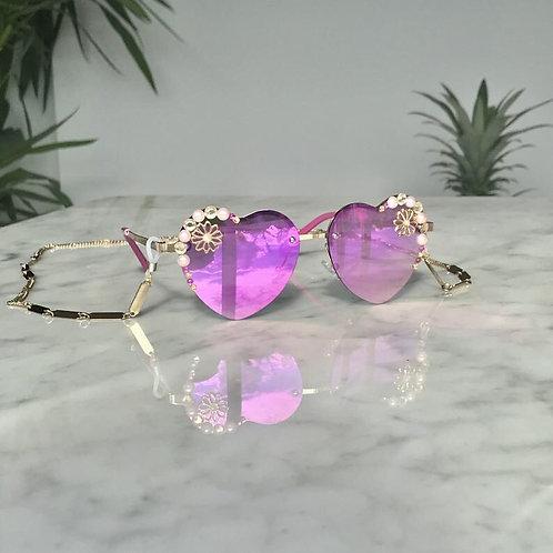 Purple Pink Heart Polarised Mirrored Jewelled Sunglasses Sunnies Glass Chain Nec