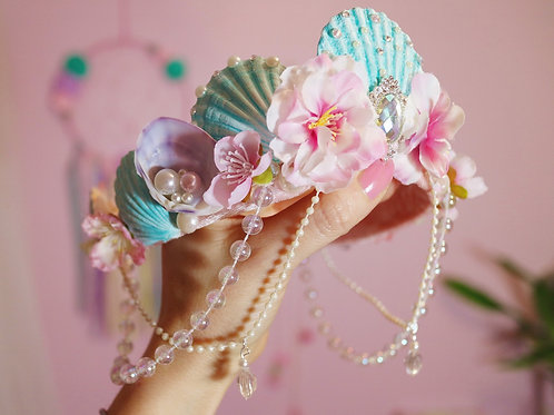 Girls Turquoise Pink & Lilac Mermaid Crown Sea Shell Hair Head Band