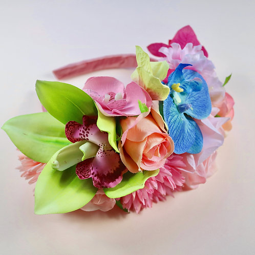 Pink Blue & Green Flower Crown Hair Head Band