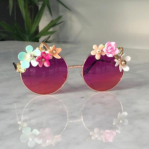 🌸 Flower Power Hippie Purple Pink Two Tone Round Jewelled Diamond Sunglasses