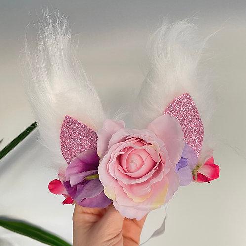 🌸🐇 Fluffy Faux Fur White Pink Bunny Ears Headband Hair Band