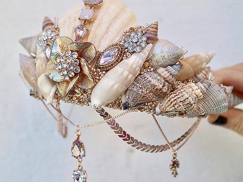 Vintage Gold Sea Shell Mermaid Crown Head Band