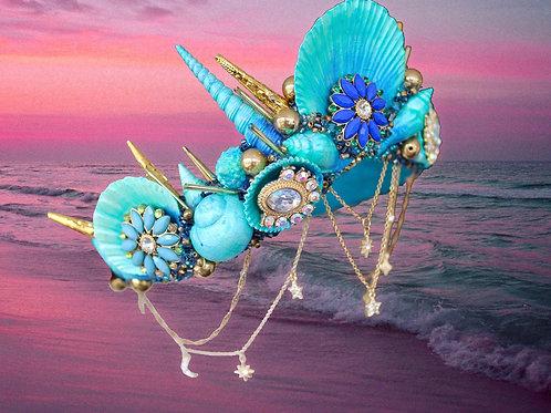 Tempeste Stars & Moon Turquoise Blue Green Sea She Mermaid Crown Hair Head Band