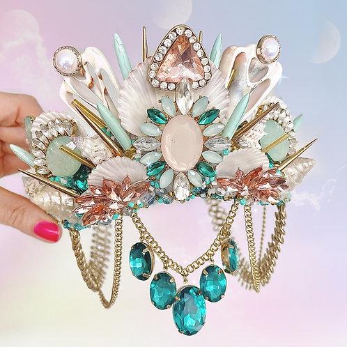 Nao Green & Rose Gold Crystal Sea Shell Mermaid Crown Hair Band Headband