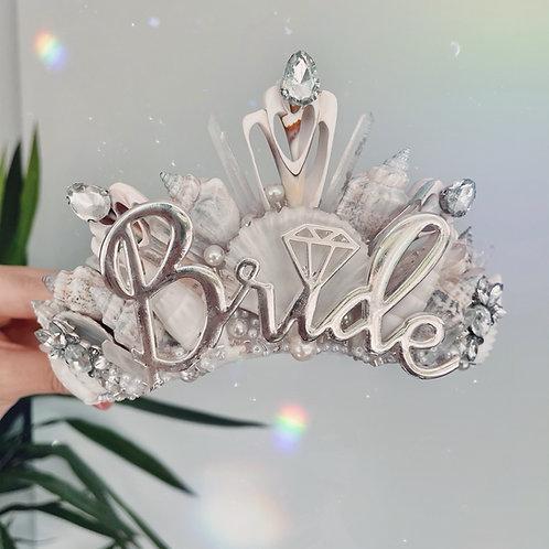 Bride To Be Cream White Quartz Sea Shell Mermaid Crown Hair Band Headband