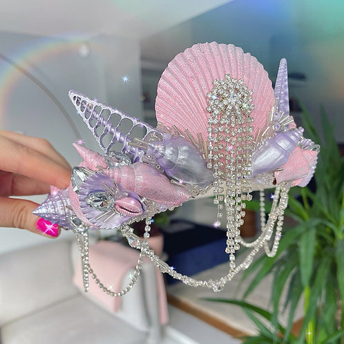 Betty Pink Purple Silver Diamond Sea Shell Mermaid Crown Hair Band Headband by