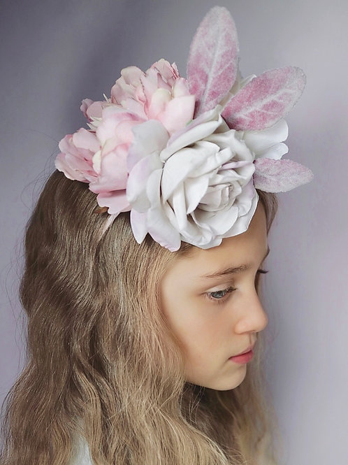 Pink Peony Silk Ivory Rose Flower Hair Head Band