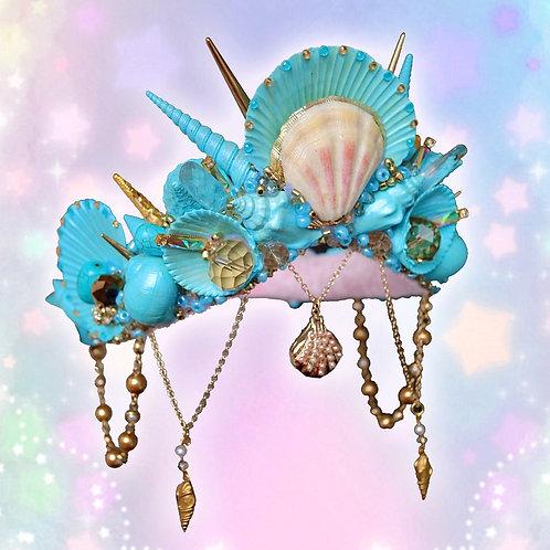 Turquoise Blue & Gold Sea Shell Locket Mermaid Crown Hair Band