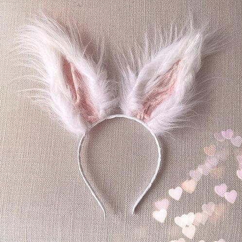 🐇White Fluffy Faux Fur Bunny Rabbit Ears Easter Hair Band Headband