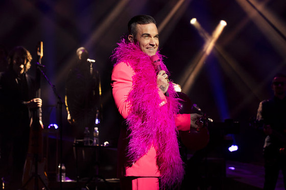 """Robbie Williams performs during his """"Live In Las Vegas"""" exclusive residency at Encore Thea"""