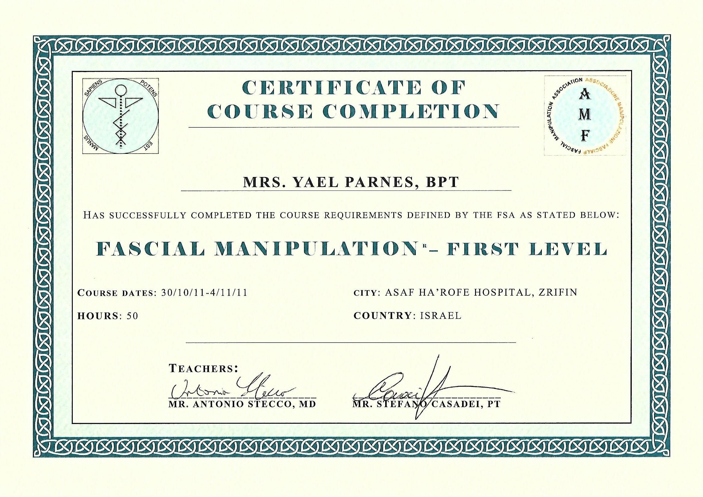 FASCIAL MAINPULTAION - first level 2011