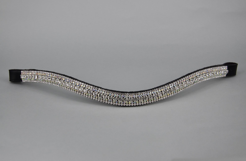 """3/4"""" Browband - 6mm Clear, 3mm AB & 3mm Clear Jewels"""