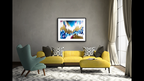 Large Blue Acrylic Abstract