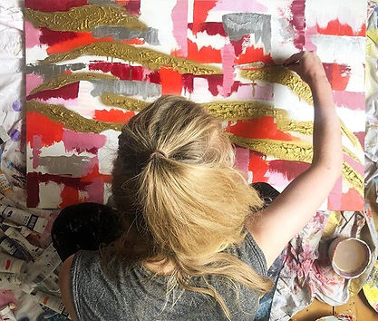Abstract Artist painting in action large painting