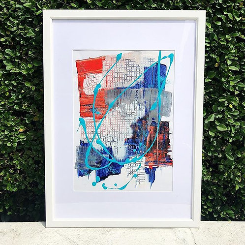 Framed blue and red acrylic Abstract Painting on paper, bright abstract wall art print, blue Painting, Modern Art Print