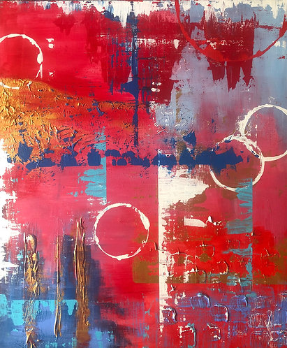 Red Contemporary Abstract Painting