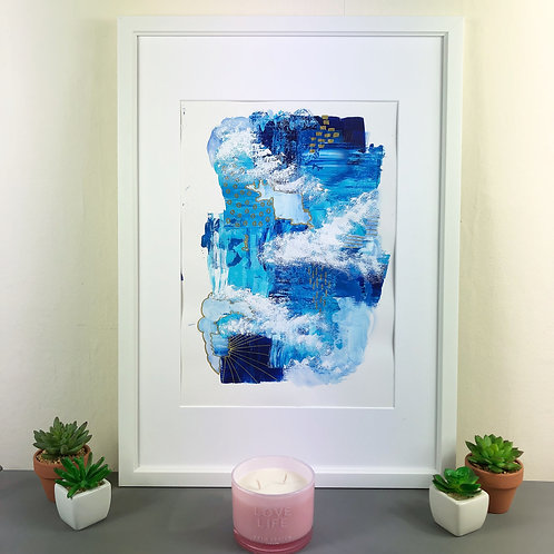Framed Gold and Blue Abstract Painting