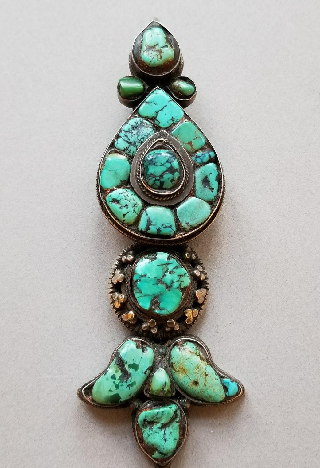 Tibetan turquoise hair ornament
