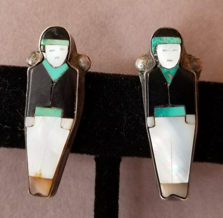 Zuni inlay figural earrings