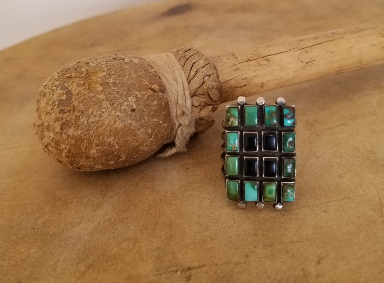 Jock Favour jet & turquoise ring