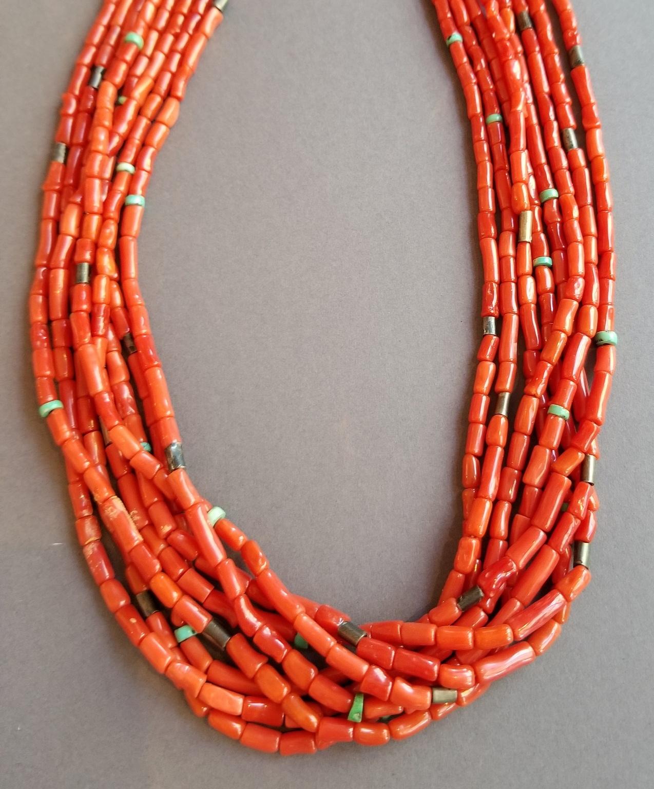 #Pueblocoralnecklace #coral&turquois