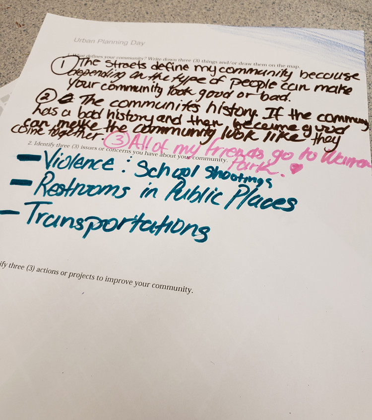 Students in each class created a comprehensive list of the issues facing their community. APA-IL Ambassadors visit George Armstrong Elementary, May 11, 2018.