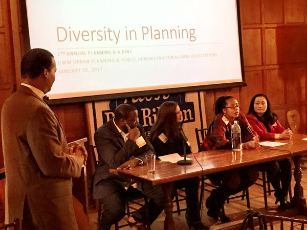 UWM 7th Annual Planning and a Pint - photo of panel, zoomed in